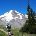 Retuning to the lodge above the White River drainage.- Timberline Trail