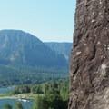 Columbia River backdrop.- Beacon Rock: Southeast Face