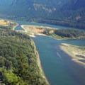 Columbia River below.- Beacon Rock: Southeast Face