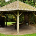 Picnic shelter near cabins.- Silver Lake Park Campground