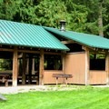 Group camp picnic shelter.- Silver Lake Park Campground