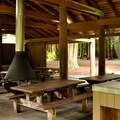 Inside the group camp picnic shelter.- Silver Lake Park Campground