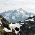 Goat Mountain's twin peaks (front, 6,891') and Mount Shuksan (back, 9,131').- Winchester Mountain Hike