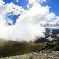 Mount Rainier lurks behind the clouds.- Mount Fremont Lookout Trail