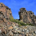 Rock formations visible from the ridge of the trail to the summit.- Mount Fremont Lookout Trail