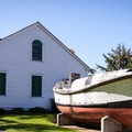 An old Coast Guard lifeboat, designed to right itself in less than a minute when capsized.- Umpqua River Lighthouse