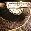 The staircase leading up to the Umpqua River Lighthouse tower.- Umpqua River Lighthouse