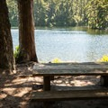 One of many shaded picnic areas around Lake Marie.- Lake Marie