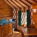 Inside a deluxe yurt.- Umpqua Lighthouse State Park Campground