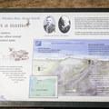 Signage describing area's history as the Merchant Family farm.- Seven Devils State Recreation Site, Merchant Beach