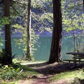 Picnic tables located along Deep Lake.- Nolte State Park, Deep Lake