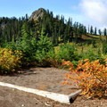 A backcountry campsite along the trail.- Railroad Grade Trail