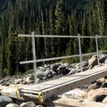Seasonal bridge at Rocky Creek.- Railroad Grade Trail
