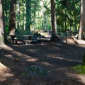 Typical campsite in White River Falls Campground.- White River Falls Campground