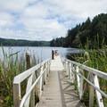 The fishing dock on Tahkenitch Lake.- Tahkenitch Lake