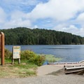 The boat ramp adjacent to the campground.- Tahkenitch Landing Campground