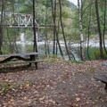 Picnic tables at Big Eddy Park.- Big Eddy Park