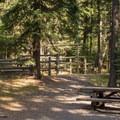 Each campsite includes a horse stall.- Slide Creek Horse Camp