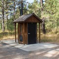 A vault toilet in the campground.- Middle Fork Campground