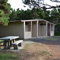 Restrooms at Driftwood Beach State Recreation Site.- Driftwood Beach State Recreation Site