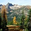 Cutthroat Peak (center, 8,050') seen from Blue Lake Trail.- Blue Lake Hike