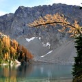 Golden larch over Blue Lake.- Blue Lake Hike