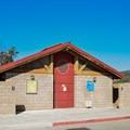 Restrooms near the reservoir.- Lakeview + Grey Pines Loop, Rosendin Park