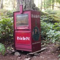 Curious objects such as this newspaper stand are scattered throughout the island.- Stuart Island Sea Kayaking