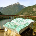 A relief map identifies the surrounding North Cascades.- Diablo Lake Overlook