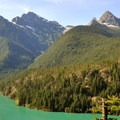 Colonial Peak (left, 7,771') and Pyramid Peak (right, 7,182') over Diablo Lake.- Diablo Lake Overlook