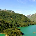 View from Diablo Lake Overlook: Pyramid Peak (left, 7,182') and Davis Peak (right, 7,051').- Diablo Lake Overlook