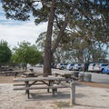Picnic area with barbecue pit near the parking lot.- Monarch Trail Hike