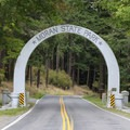 Moran State Park entrance.- Orcas Island: Moran State Park Campgrounds