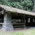 Picnic shelter at Moran State Park.- Orcas Island: Moran State Park Campgrounds