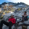 A short break below the shadows of McClellan Peak (8,364').- Enchantment Lakes Hike via Snow Lakes