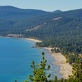 Agate Bay and Kings Beach as seen from the lookout.- Stateline Fire Lookout