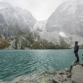 Colchuck Lake with Aasgard Pass (7,840') in the saddle.- Enchantment Lakes Hike via Colchuck Lake