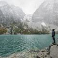 Colchuck Lake with Aasgard Pass (7,840') in the saddle.- Enchantment Lakes Hike via Colchuck Lake