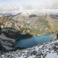 Looking back down on Colchuck Lake.- Enchantment Lakes Hike via Colchuck Lake
