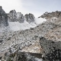View of Dragontail Peak from the top of Aasgard Pass.- Enchantment Lakes Hike via Colchuck Lake