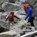 The boulder scramble on Colchuck Lake's southern shore.- Enchantment Lakes Hike via Colchuck Lake