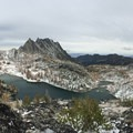View east from above Perfection Lake with Prusik Peak and The Temple (8,292').- Enchantment Lakes Hike via Colchuck Lake