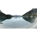 Panoramic view of Colchuck Lake from its southern shore with Cashmere Mountain (8,501') in the distance.- Enchantment Lakes Hike via Colchuck Lake