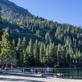 Emerald Bay State Park's beach lies at the front door of Vikingsholm.- Vikingsholm