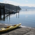 Obstruction Pass Beach launch point.- Obstruction Island Sea Kayaking
