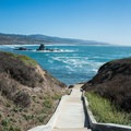 Walkway to a small beach.- Pigeon Point Lighthouse + Hostel
