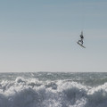 Kiteboarding at Scott Creek Beach.- Scott Creek Beach