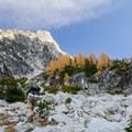 Staring up the daunting Aasgard Pass (Colchuck Pass).- Enchantment Lakes Thru-Hike