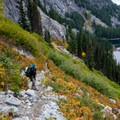 Fall foliage along the Snow Lakes trail. Nada Lake seen below.- Enchantment Lakes Thru-Hike
