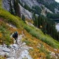 Fall foliage along the Snow Lakes trail. Nada Lake seen below.- Enchantment Lakes Thru-Hike